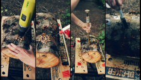 Steps of innoculating logs with shiitakes: drill, spray, innoculate, cover holes with wax