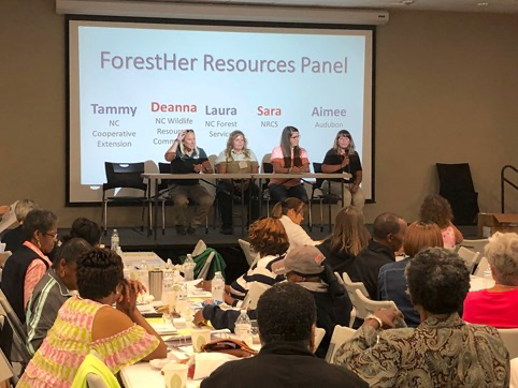 A panel of female natural resource professionals speaks to women attendees at a ForestHer NC workshop in Kinston, NC.